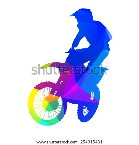 Abstract colorful motocross rider - stock vector