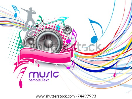 Abstract colorful music event background with color full wave line illustration.