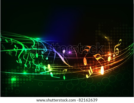 abstract colorful music note vector background - stock vector