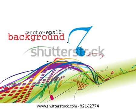 abstract colorful music note vector background