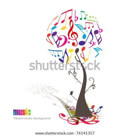 Abstract colorful music tree - Vector illustration - stock vector