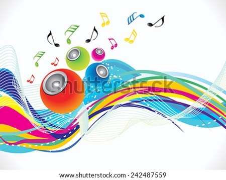 abstract colorful musical wave background vector illustration - stock vector