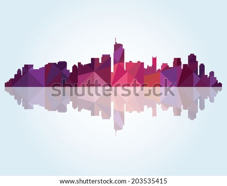 Abstract Colorful panorama city background - stock vector