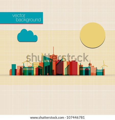 Abstract Colorful panorama city background | EPS10 Design - stock vector