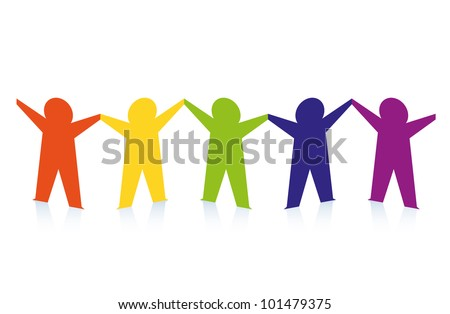 Abstract colorful paper people isolated on white - stock vector