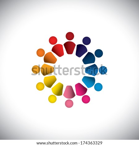 Abstract colorful people or children icons as circle- vector graphic. This graphic can also represents concept of kids playing together, friendship, team building, group activity, play-school, etc  - stock vector