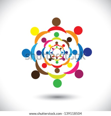 Abstract colorful people signs in circles- vector graphic. This icon illustration can also represent concept of children playing together or friendship or team building or group activity,etc