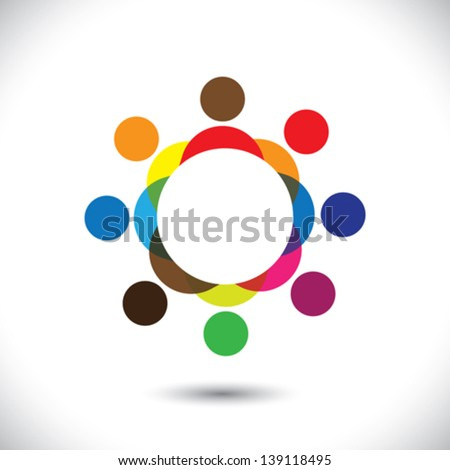 Abstract colorful people symbols in circle - vector graphic icon. This logo template can also represent concept of children playing together or friendship or team building or group activity,etc - stock vector