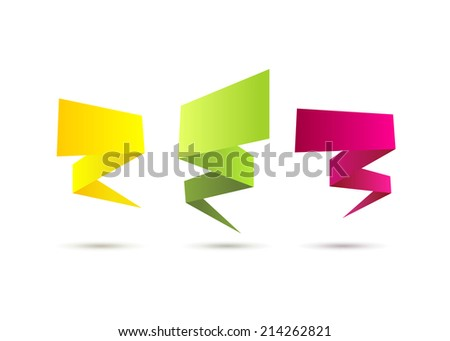 Abstract colorful polygonal origami banners vector set - stock vector