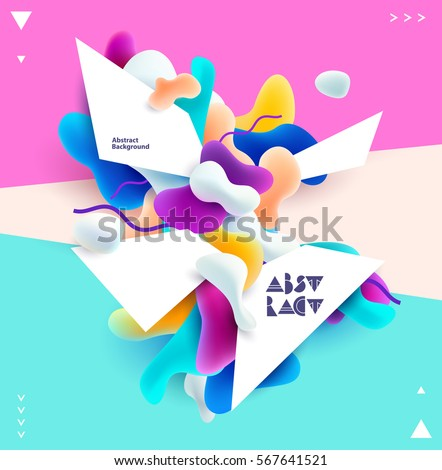 Abstract colorful poster. Plastic 3d shapes with space for text.