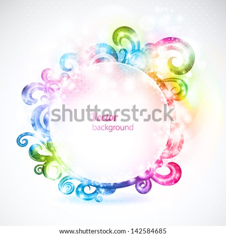 Abstract colorful round frame decorated with fanciful swirls. Vector background. - stock vector