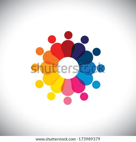 abstract colorful school children in circle playing together - vector graphic. This graphic also represents students community, employee diversity, unity, solidarity, trust, friendship, staff meetings - stock vector