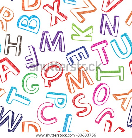 Abstract colorful seamless alphabet background vector illustration - stock vector