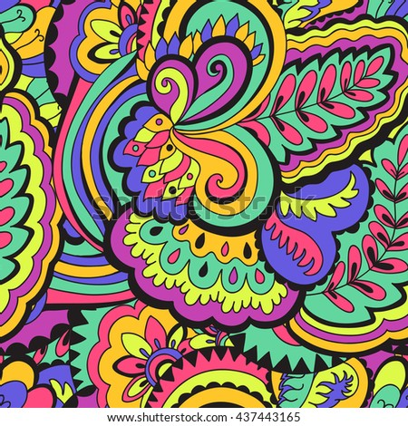 Abstract colorful seamless psychedelic pattern. Vector illustration.