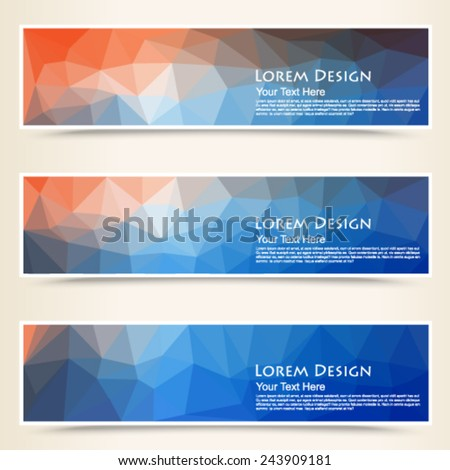 abstract colorful set of shiny polygonal banners. Vector, EPS 10 - stock vector
