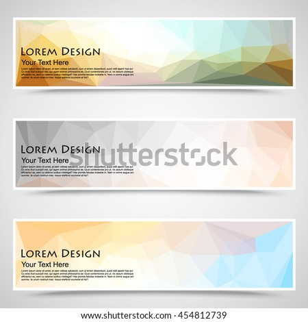 abstract colorful set of shiny polygonal banners. Vector illustration - stock vector