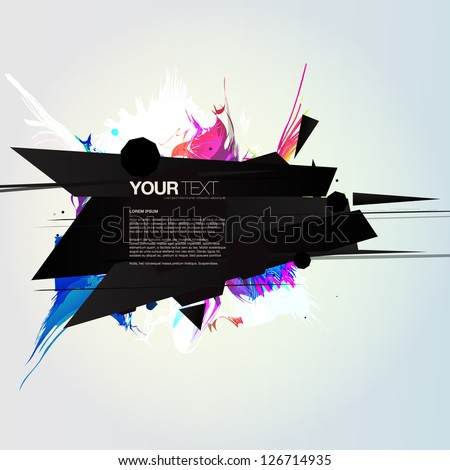Abstract colorful sharp explosion design text box vector background - stock vector