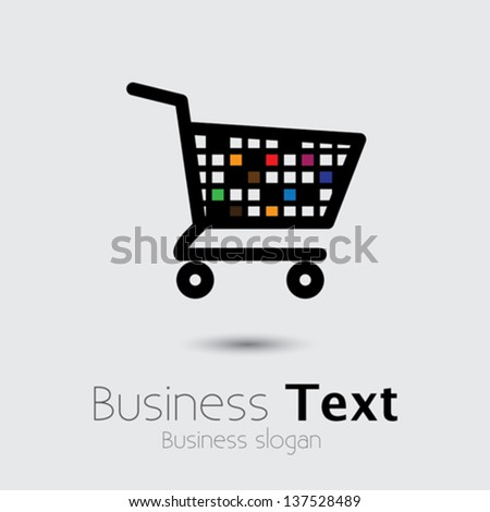 abstract colorful shopping cart icon or symbol- vector graphic. This illustration shows design of an empty trolley symbolic of online e-commerce based shopping cart used in internet websites - stock vector