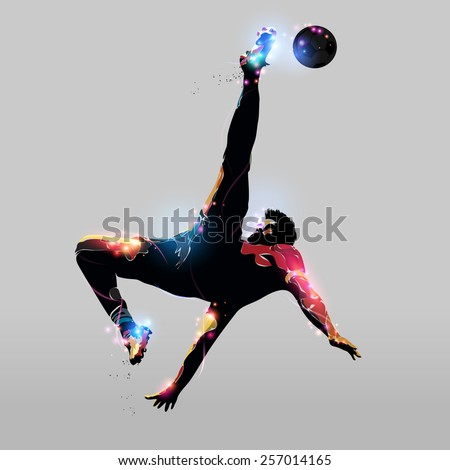 abstract colorful silhouette soccer player over head kick - stock vector