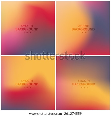Abstract colorful, smooth, blurred backgrounds vector set 2 - stock vector