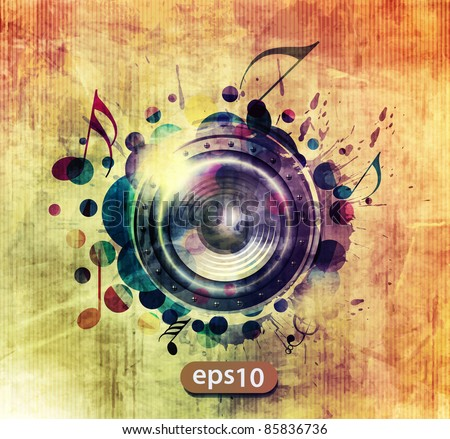 abstract colorful speaker design background illustration. - stock vector