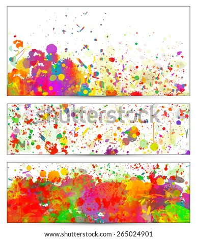 Abstract colorful splash backgrounds, banners set. Watercolor background illustration. - stock vector