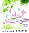 abstract Colorful spring background with butterfly and flowers, Vector. - stock photo
