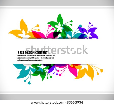abstract Colorful spring background with butterfly and flowers, Vector. - stock vector