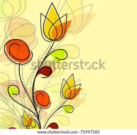 Abstract colorful spring flower pattern background. - stock vector