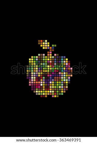 Abstract colorful squared apple. Vector Illustration - stock vector