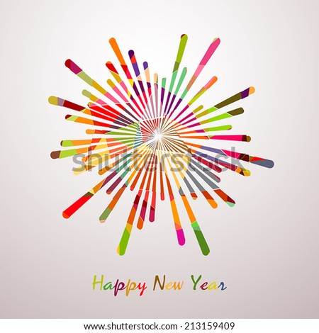 Abstract colorful starry fireworks on white background. Happy New Year card. Vector illustration. - stock vector