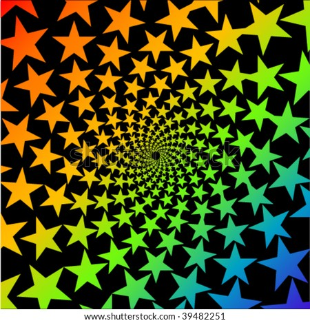 abstract colorful stars whirl design - stock vector