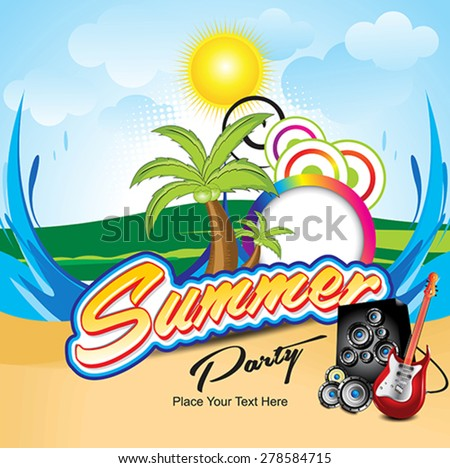 abstract colorful summer background with musical instruments