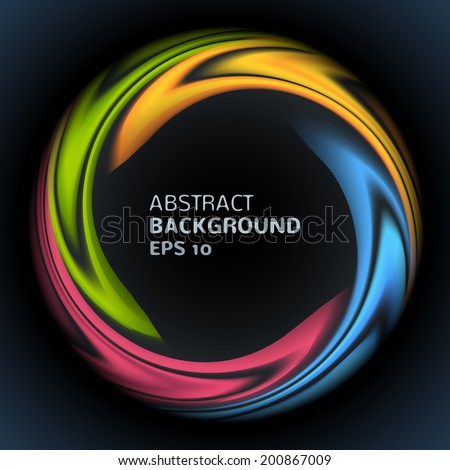 Abstract colorful swirl circle bright background. Vector illustration for you modern funny design. Round frame or banner with place for text. On black. - stock vector