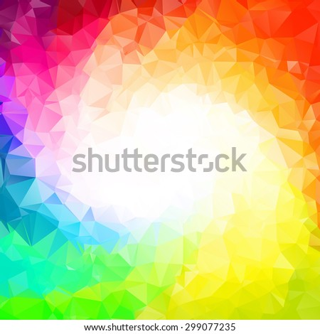 Abstract colorful swirl rainbow polygon around white background - stock vector