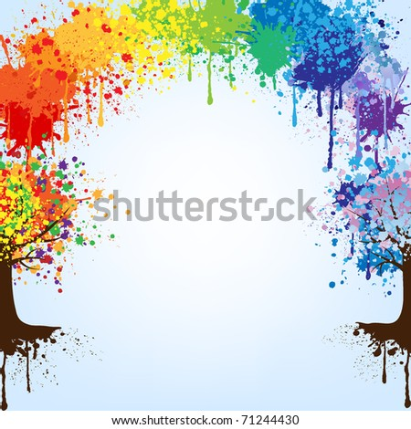 Abstract colorful tree and  rainbow . Vector background.