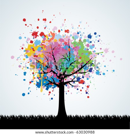 Abstract colorful tree. Vector background. - stock vector