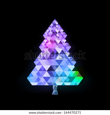 Abstract colorful triangle pattern Christmas tree design  Eps 10 vector illustration  - stock vector