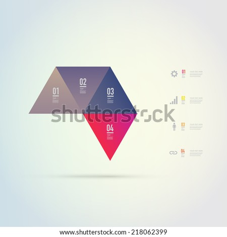 Abstract colorful triangles infographic template for your business presentation with text and numbers. Eps 10 stock vector illustration.  - stock vector