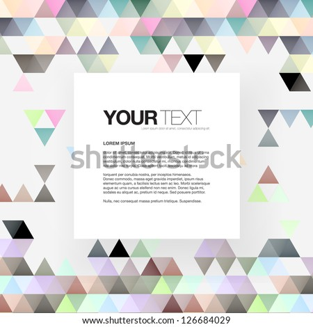 Abstract colorful triangles text box design background vector