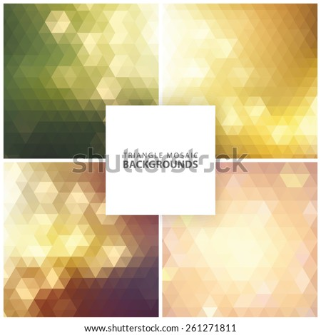 Abstract colorful triangular, mosaic backgrounds set 1 - stock vector