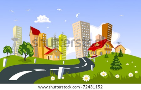 Abstract colorful vector city - stock vector