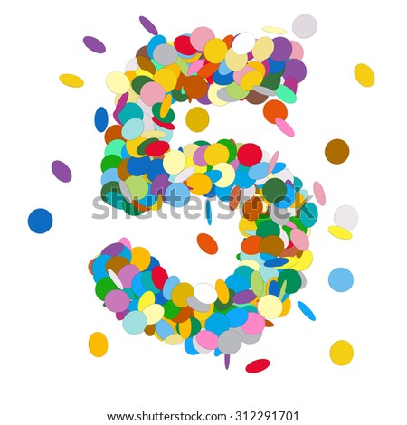 Abstract Colorful Vector Confetti Number Five - 5 - Birthday, Party, New Year, Jubilee - Number, Figure, Digit - stock vector