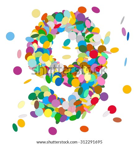Abstract Colorful Vector Confetti Number Nine - 9 - Birthday, Party, New Year, Jubilee - Number, Figure, Digit - stock vector