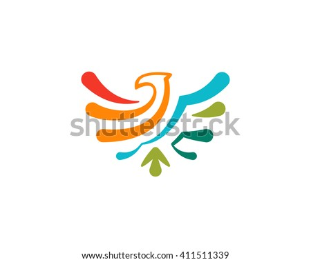 Abstract colorful vector eagle icon. Eagle logo template. Simple eagle emblem - stock vector