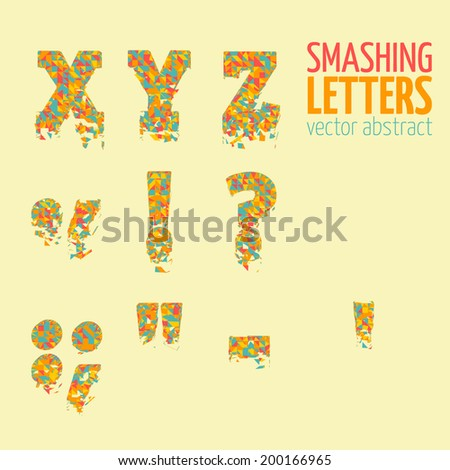 Abstract colorful vector smashing mesh letters. Futuristic technology style alphabet.  Eps 10 - stock vector