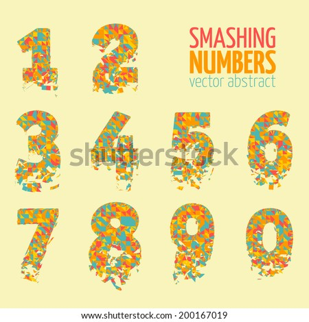 Abstract colorful vector smashing mesh numbers. Futuristic technology style alphabet.  Eps 10 - stock vector