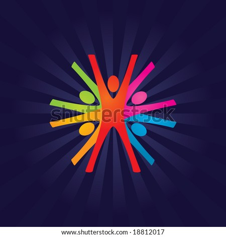 Abstract Colorful Vector Teamwork Background - stock vector