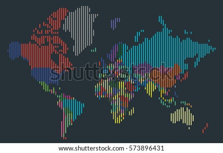Abstract world map colored continents dot vectores en stock abstract colorful vertical bar world map countries isolated on dark gray background vector gumiabroncs Gallery