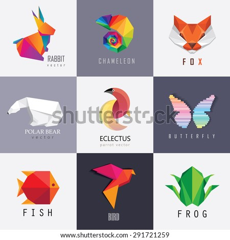 Abstract colorful vibrant animal logos design set collection. Rabbit, chameleon, red fox, polar bear, parrot, butterfly, fish, bird and frog designs - stock vector